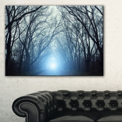 Designart Blue Light In Dark Foggy Autumn 3-pc. Canvas Art