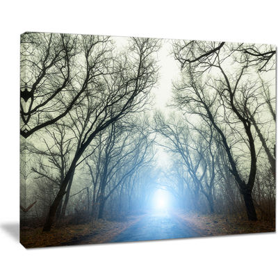 Designart Blue Light In Foggy Autumn Canvas Art