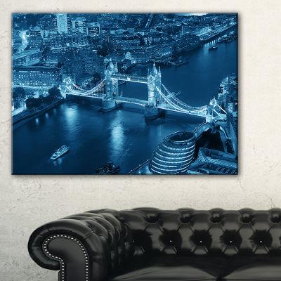 Designart Blue London Night Aerial View Canvas Art