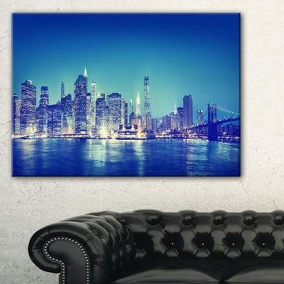 Designart Blue New York City At Night Panorama Canvas Art