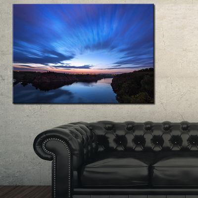 Designart Blue Night Sky With River Canvas Art