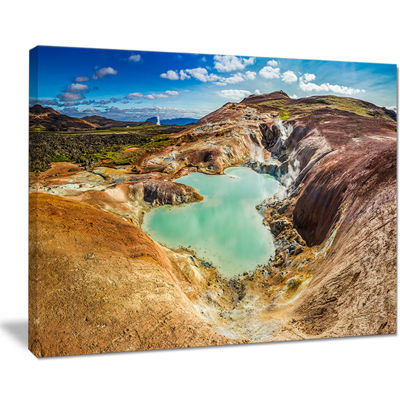 Designart Blue Pond In Volcano Area Iceland Canvas Art