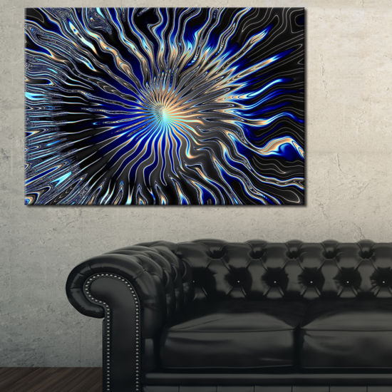 Designart Blue Rays From The Circle Canvas Art