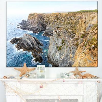 Designart Blue Rocky Bay Portugal Panorama Canvas Art