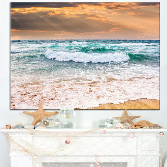 Designart Blue Sea Waves Kissing Sandy Beach Canvas Art