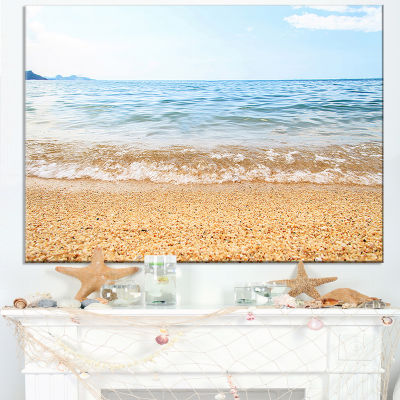 Designart Blue Seashore With Pebble Stones Canvas Art