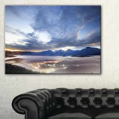 Designart Blue Sky And Lit Up Villages 3-pc. Canvas Art