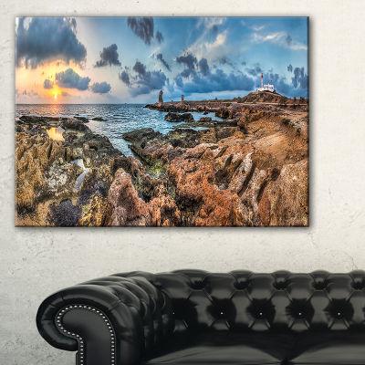 Designart Blue Sky Over Rough Rocky Coast Canvas Art