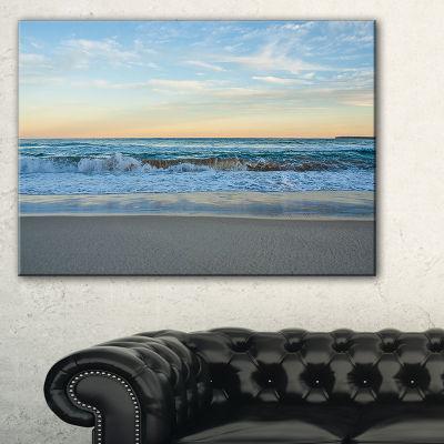 Designart Blue Splashing Scene Beach Canvas Art