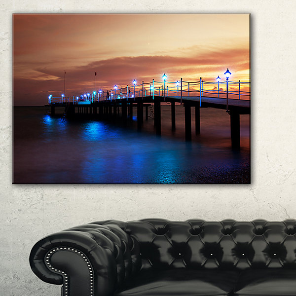 Designart Blue Waters And Bridge At Sunset Canvas Art