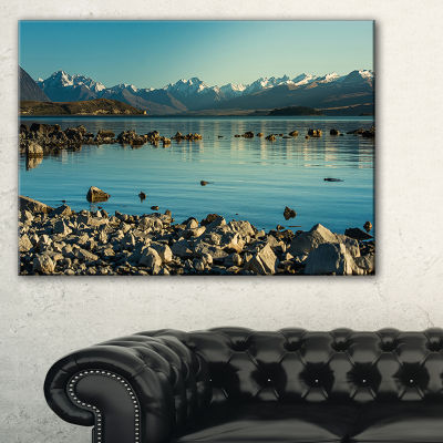 Designart Blue Waters In Rocky Beach Panorama Canvas Art