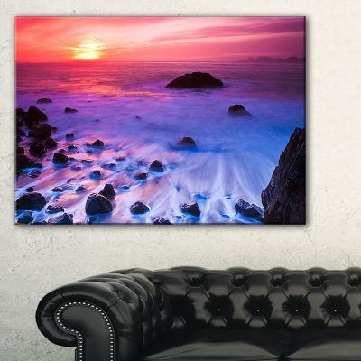 Designart Bluish Waters At Sunset Panorama Canvas Art