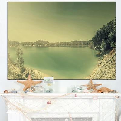 Designart Blurred Sea With Mountain Views Canvas Art