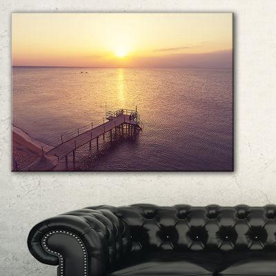 Designart Boardwalk Over The Beach At Sunset Canvas Art