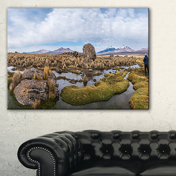 Designart Bolivia Volcanoes Panoramic View Canvas Art