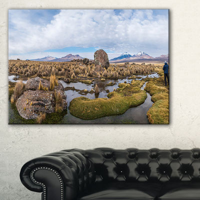 Designart Bolivia Volcanoes Panoramic View Canvas Art
