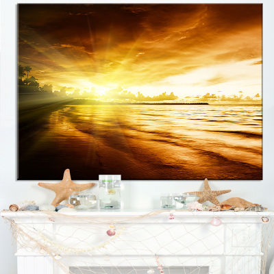 Designart Breathtaking Yellow Caribbean Beach Canvas Art