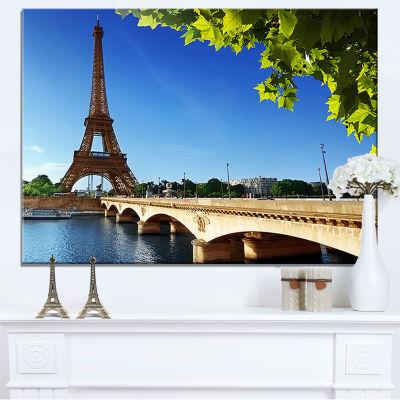 Designart Bridge To Paris Paris Eiffel Towerparis Canvas Art