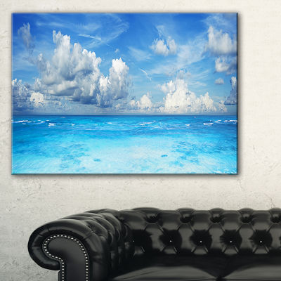 Designart Bright Blue Waters And Sky Panorama Canvas Art