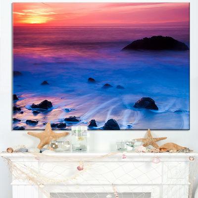 Designart Bright Colorful Rocky Coast Panorama Canvas Art
