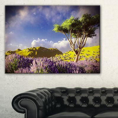 Designart Bright Lavender Garden Field Canvas Art