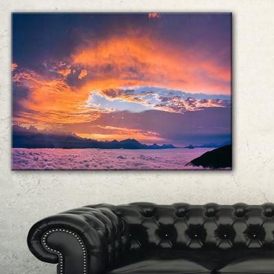 Designart Bright Panoramic Sunset Over Sea Canvas Art