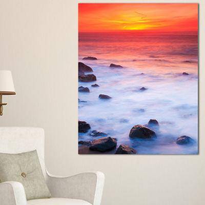 Designart Bright Red Rocky Coast Sunset Canvas Art
