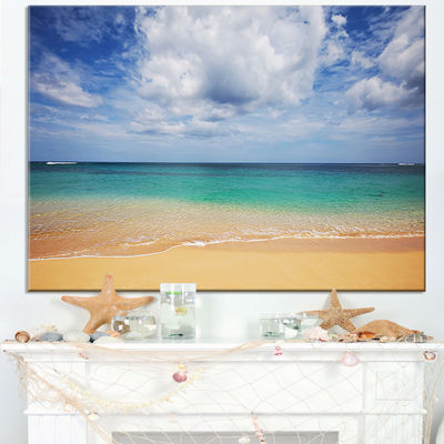 Designart Bright Seashore With Heavy Clouds Canvas Art