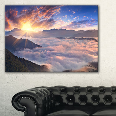 Designart Bright Sun In Misty Mountains Canvas Art