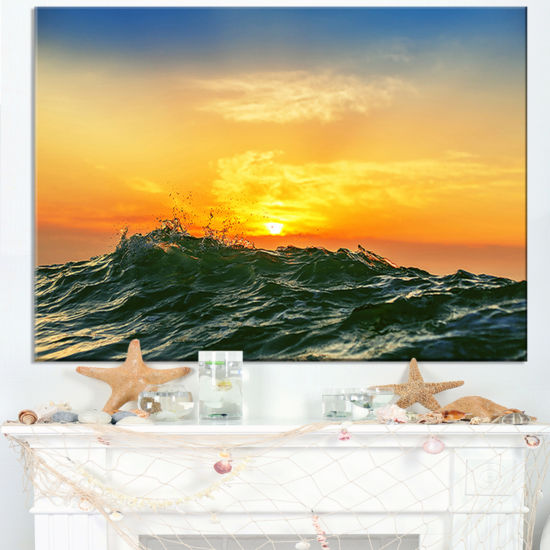 Designart Bright Sunlight And Glowing Waves Canvas Art