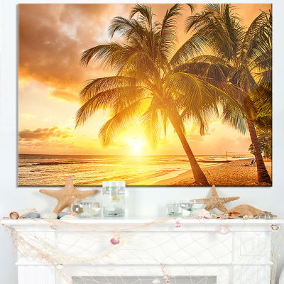 Designart Bright Sunset At Barbados Island Canvas Art