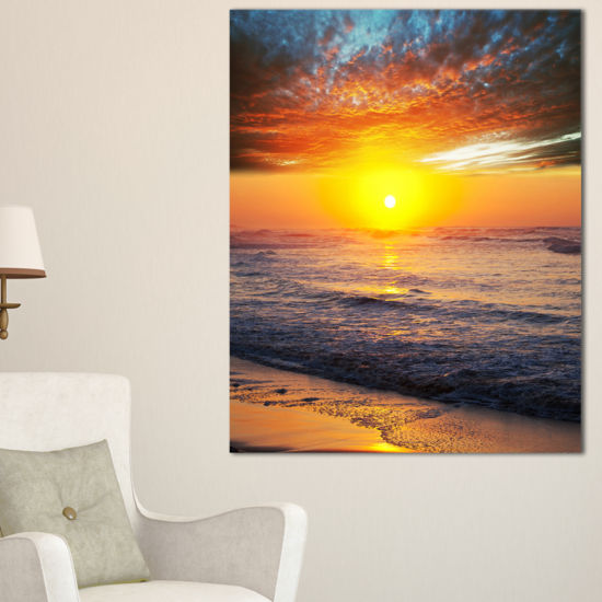 Designart Bright Sunset Over Blue Waters Canvas Art