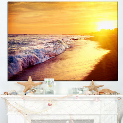 Designart Bright Yellow Sky With Foam Waves Canvas Art
