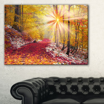 Designart Bright Yellow Sun In Alpine Forest Canvas Art