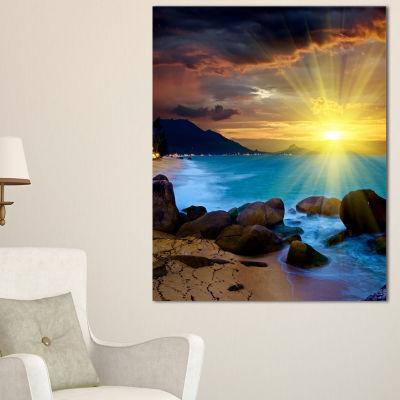 Designart Bright Yellow Sun Over Blue Waters Canvas Art