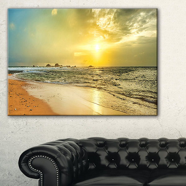 Designart Bright Yellow Sunset Beach Panorama Canvas Art