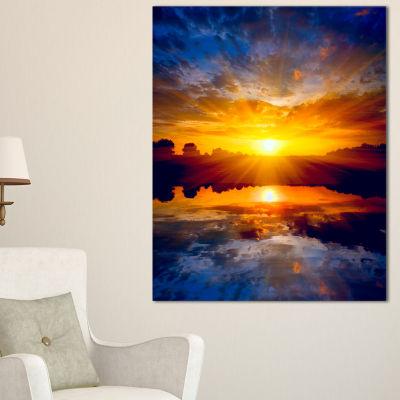 Designart Bright Yellow Sunset Over Lake Canvas Art