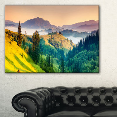 Designart Brightly Green And Blue Mountains Canvas Art