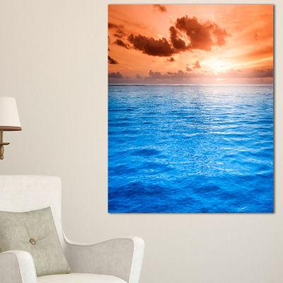 Designart Brilliant Blue Waters Under Sunset Canvas Art