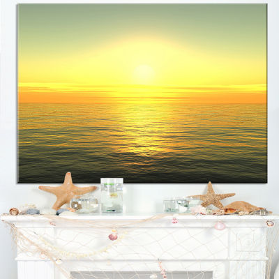 Designart Brilliant Yellow Sunrise Over Waters Canvas Art