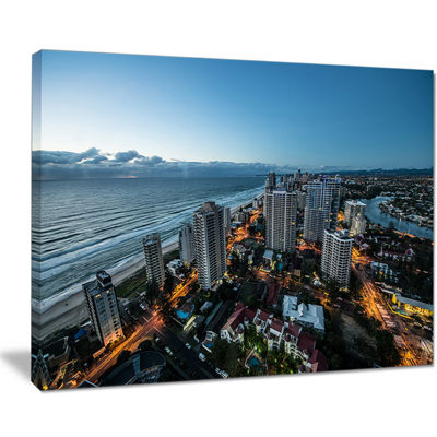 Designart Brisbane Skyscrapers And Sea Aerial View Canvas Art