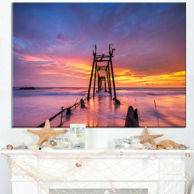 Designart Broken Wooden Bridge At Sunset Canvas Art