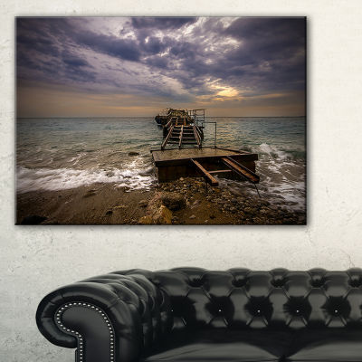 Designart Broken Wooden Pier For Boats Canvas Art