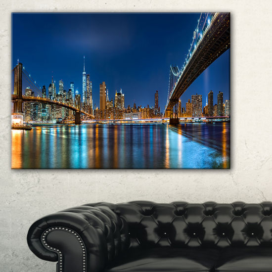 Designart Brooklyn And Manhattan Bridges Night Canvas Art