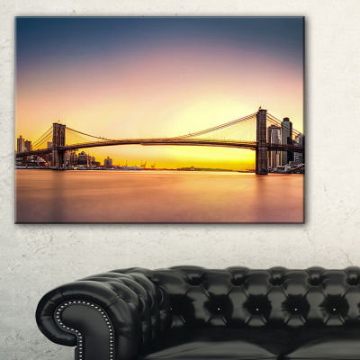Designart Brooklyn Bridge Panorama Yellow Sky Canvas Art