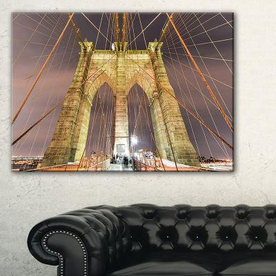 Designart Brooklyn Bridge Tower And Cabling Canvas Art