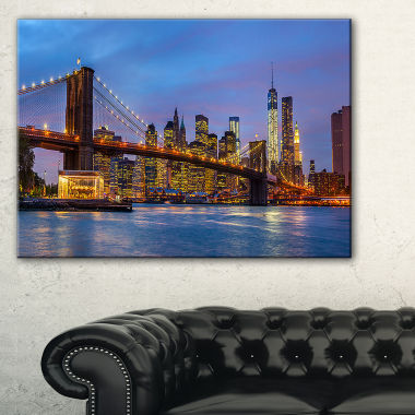 Designart Brooklyn Bridge With Lights And Reflections Canvas Art