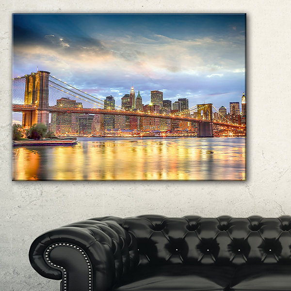 Designart Brooklyn Bridge With Night Illumination Canvas Art
