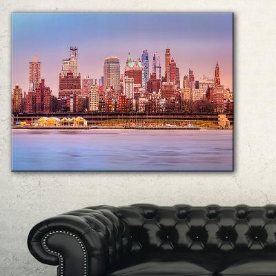 Designart Brooklyn Skyline Under Sunset Light Canvas Art