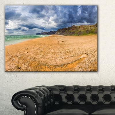Designart Brown Beach By Arctic Sea Panorama Canvas Art